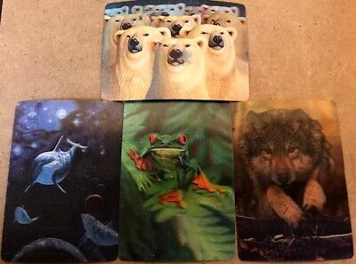 3-D Lenticular Wildlife Trading Card Set - Bear-Frog-Wolf-Dolphin -FREE SHIPPING