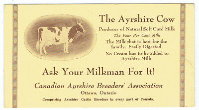 Ayrshire Cow Ink Blotter - Canadian Ayrshire Breeders, Ottawa Ontario