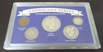 1898-1912 U.S. Americana Series Yesteryear Collection SILVER 5 Coin Set CHARITY