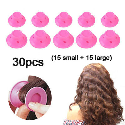 30pc Magic Silicone Hair Curlers No Clip DIY Curling Hairstyle Tools Accessories