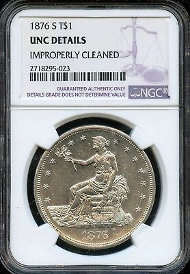 1876 S NGC Unc Details Improperly Cleaned U. S. Trade Silver Dollar $1 Coin J765
