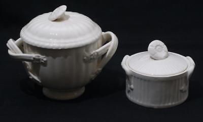 Antique Vintage Creamware Lidded Sugar etc Bowls by Royal Creamware & Leeds