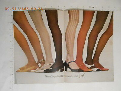 1968 Hanes pantyhose stockings hosiery sexy long legs AD 2 page color