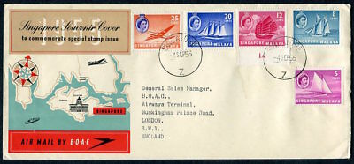 SINGAPORE  Malaya  Cover 1955  AIR MAIL BY B.O.A.C.  To  England  UPTOWN 33582