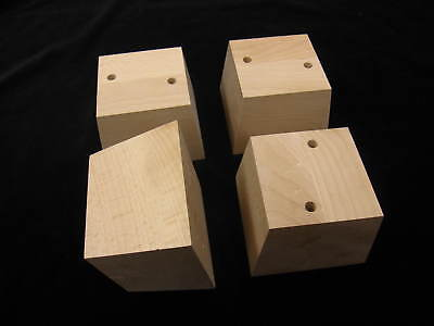 4 Strong Wooden Furniture Feet For Sofa Chairs Settees - Beech Hard Wood Raw 9cm