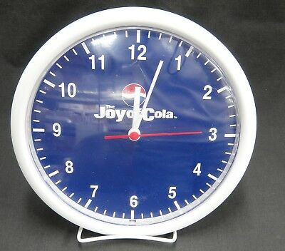 Pepsi Joy of Cola Advertising Wall Clock White Plastic Frame Blue Face 10""