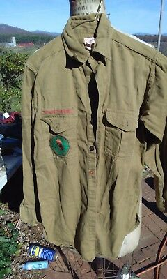 Vintage 1930's-40's Boy Scouts Of America Long Sleeve Uniform Shirt Patches