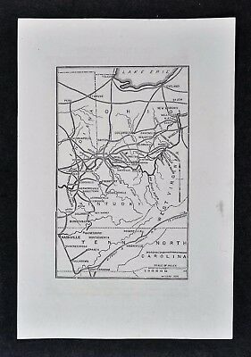 1865 Civil War Map Morgans Raid Kentucky Indiana Ohio Route Lexington Cincinnati
