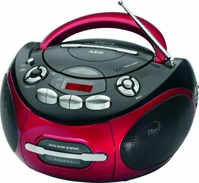 Luxus Aeg Stereoradio Cd Player Kassetten Deck Mp3 Aux Lcd Tragbar Rot 46451718