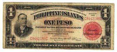 Philippines  1 Peso Banknote  1929  Roosevelt