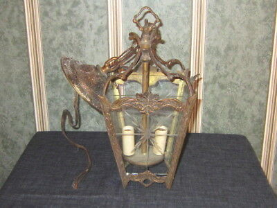 Vintage--Brass Hanging Light--With Etched Glass