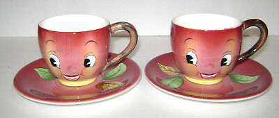 2 Vintage Anthropomorphic Py Japan Red Apple Cup & Saucer Very Nice