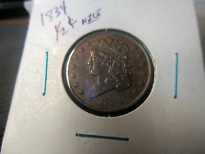 1834 U.s. Half Cent - Lots Of Detail & Great Surfaces - Nice Coin-D034