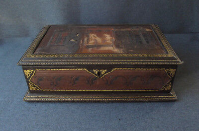 Antique lined in embossed & gilt genuine leather wooden large jewelry sewing box