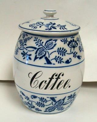 Large Antique German Pottery ~Blue Onion~ Storage Jar Coffee Cannister