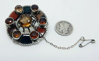 Antique 1870s Victorian Scottish Sterling Citrine & Agate Lavaliere Style Brooch