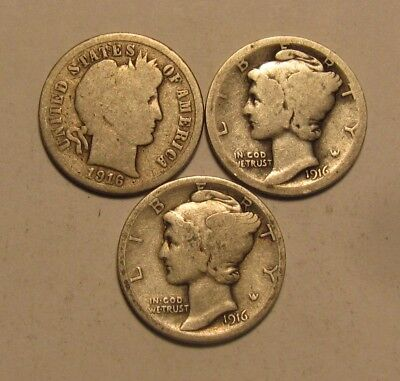 1916 Barber & 1916 PS Mercury Dime - Circulated Condition - 92SA