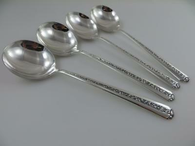 4 Round Cream Soup Spoons  RAMBLER ROSE Towle Sterling Silver Flatware No Mono