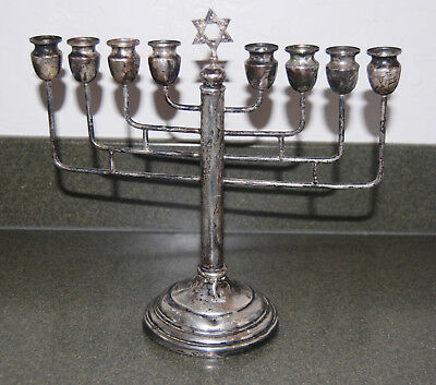 Antique STERLING SILVER 925 8 candle Ornate STAR OF DAVID Menorah stand 8 1/2 OZ