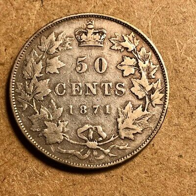 CANADA - Queen Victoria - 50 Cents 1871H - Very Good - Key Date - Mintage 45,000