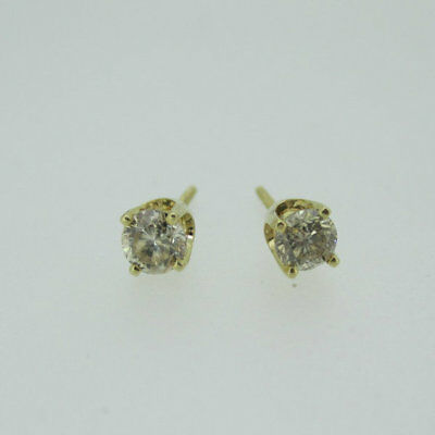 14k Yellow Gold Approx .40ct TW Round Brilliant Cut Diamond Earrings