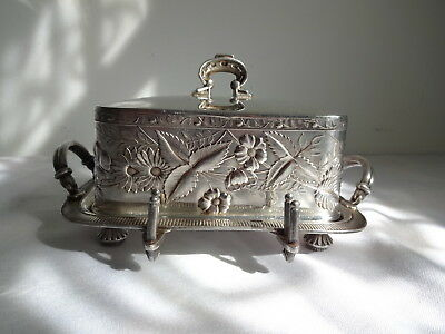Vtg Antique Victorian Covered Butter Dish Silver Plate Silverplate Wilcox Co.