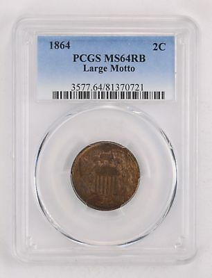 MS64RB 1864 Two-Cent Piece - Large Motto - PCGS Graded *2159