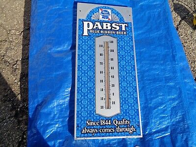 Pabst Blue Ribbon Thermometer / Metal Sign - Vintage Original! 20 X 9 Inches