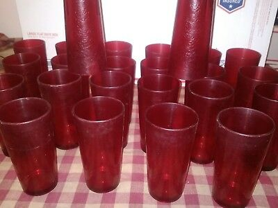 Set 24 CAMBRO USA Restaurant Red Tumbler Beverage Crackle Stackable Cups 12 Oz