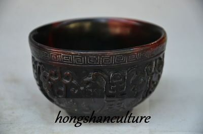 Old Decorate Chinese Ox Horn Handwork Lucky Bowl