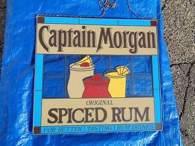 CAPTAIN MORGAN STAINED GLASS HANGING SIGN - Brand New! NEAT SIGN! 18 X 16 INCH