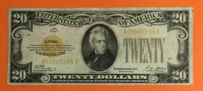"""1928 $20 US """"GOLD Certificate"""" FINE X296 High in Demand! Old US Paper Currency"""