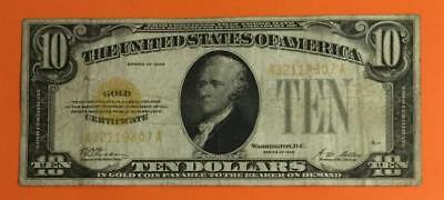 """1928 $10 US """"GOLD Certificate"""" FINE X807 High in Demand! Old US Paper Currency"""