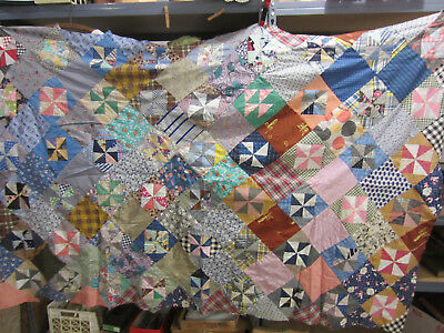 Vintage Machine and Hand Sewn Quilt Top- Pin Wheel Pattern QT#10