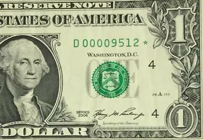 2006 $1 US Cleveland *** STAR *** Low Issue only 640K! Low 4 Digit Fancy Serial!