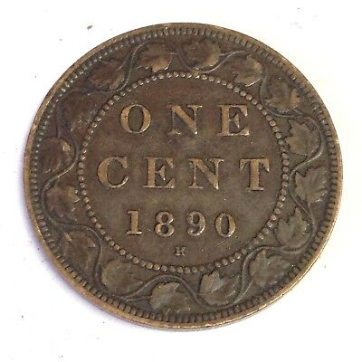 1890 H Canada One Cent, Victoria, Canadian Large Cent