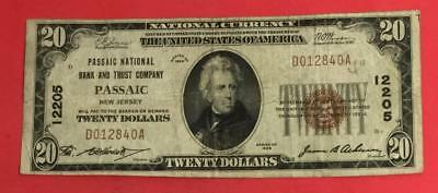 """1929 $20 Brown National Currency """"PASSAIC New Jersey"""" FINE! Old US Currency"""