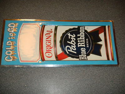 Vintage COLD to GO ORIGINAL PABST Blue Ribbon BEER Bar Sign EDM Embosograph 3-D