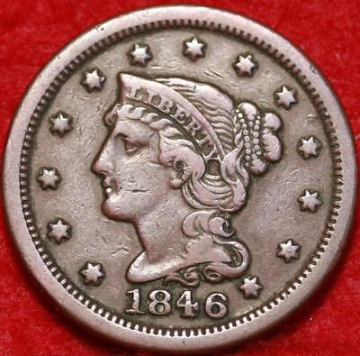 1846 Philadelphia Mint Copper Braided Hair Large Cent Free S/H