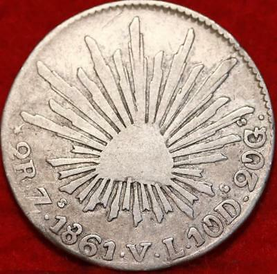 1861 Mexico 2 Reales Silver Foreign Coin Free S/H
