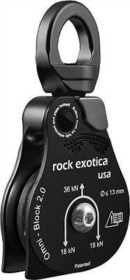 "ROCK EXOTICA Omni-Block 2.0"" BLACK Pulley single sheave block 1/2 inch Rope 36Kn"
