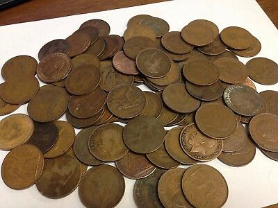 100 x Vintage British Large One Penny, UK copper Pennies Victoria to QEII lot#62