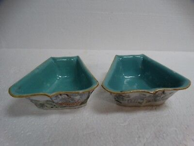 PAIR ANTIQUE CHINESE 19th CENTURY PORCELAIN BOWLS CONTAINERS SCHOLAR ART