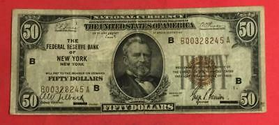 """1929 $50 Brown Seal National Currency """"NEW YORK"""" VG! X245 Old US Currency"""