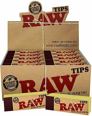 10  Packs of AUTHENTIC RAW Rolling Paper Tips Filter Spacer (50 Sheets per pk)