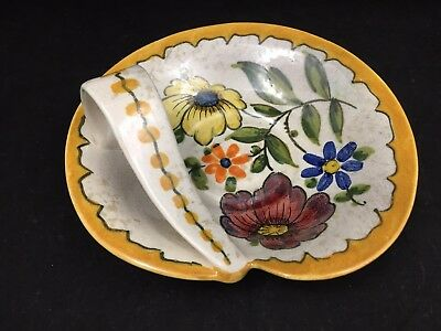 Vintage Margriet A. Art Pottery Royal Gouda Holland-Floral Ceramic Handled Plate