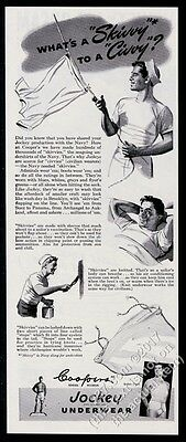1945 US Navy sailor skivvy art Jockey men's underwear vintage print ad