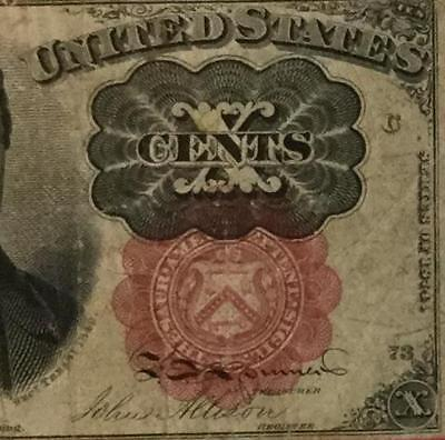 """1874 US Fractional Currency """"TEN CENTS"""" FINE! Old US Paper Money Currency"""