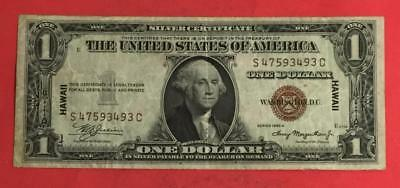 """1935A $1 Brown Seal """"HAWAII"""" Emergency WWII SILVER Certificate Choice VF X493"""