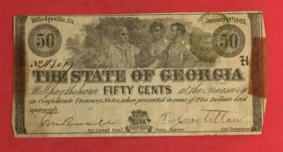 """1863 US State of GEORGIA """"FIFTY CENTS"""" Fractional Currency! Old US Paper Money"""